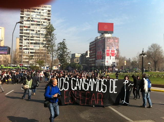 student protest Santiago de Chile 04 Aug 2016