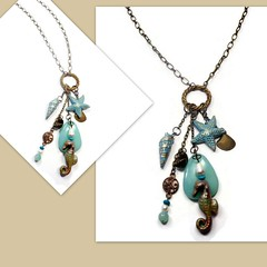 polymer clay Beach Vibe Long Chain necklace