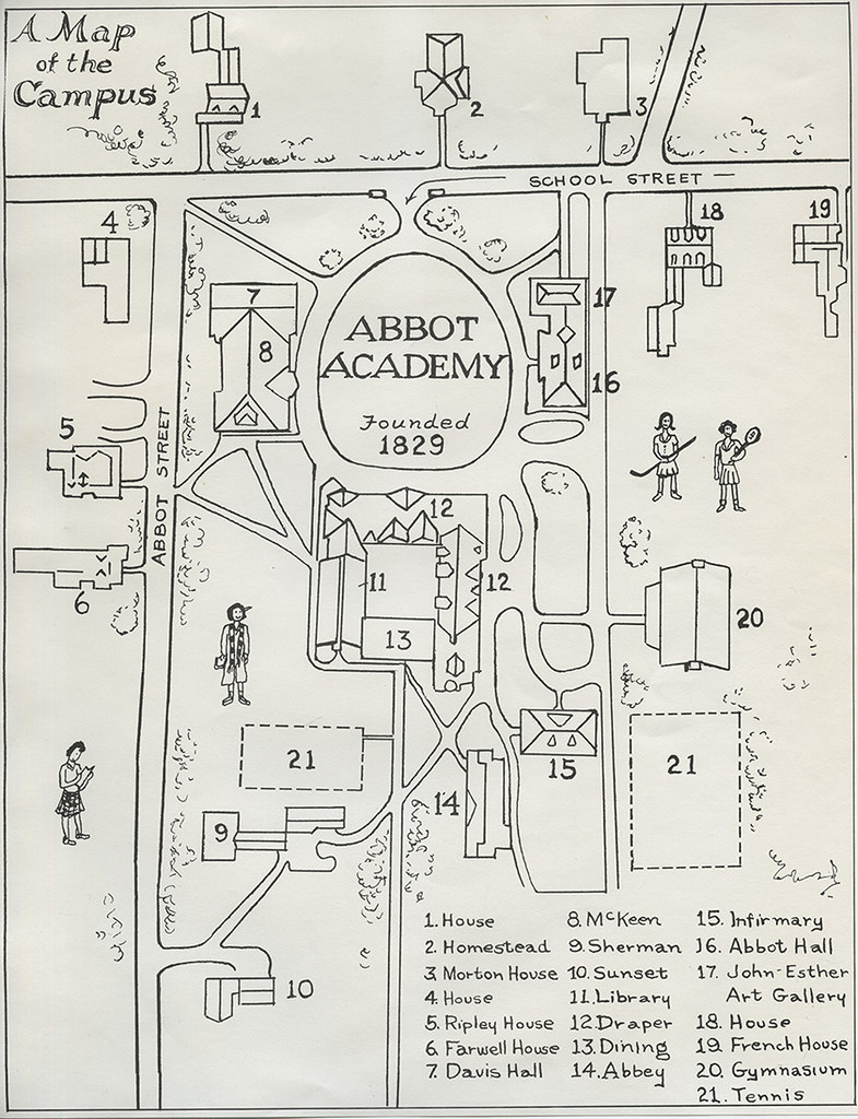 Map Of Campus Abbot Academy 1959 Phillips Academy Archives And