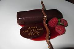 anniversary dessert - chocolate cake with raspberr…