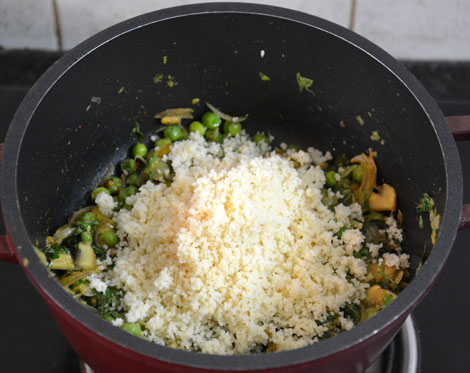 Couscous with peas-mushroom recipe