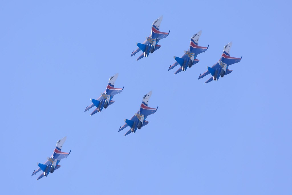 The Russian Knights Air Show at St.Petersburg, Russia