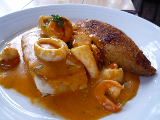 Sea Bass with Mariscos in Coral Sauce