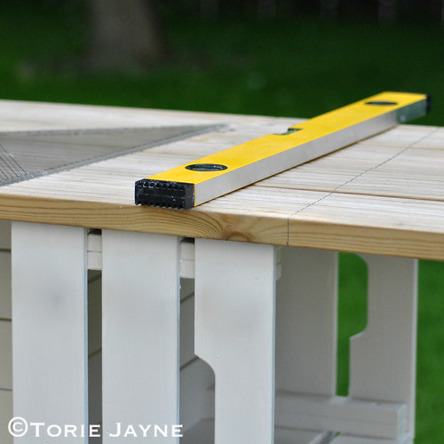 Mark the cutting lines for the decking panels