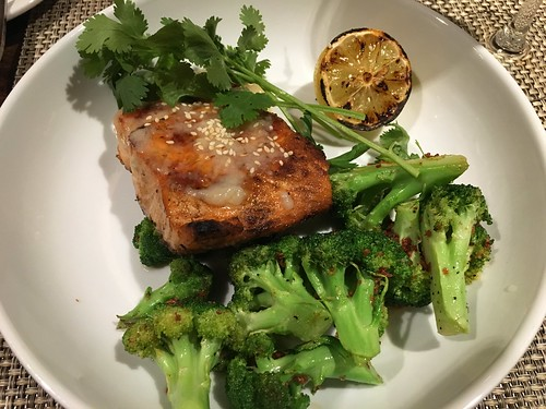 MISO SALMON roasted broccoli, burned lemon