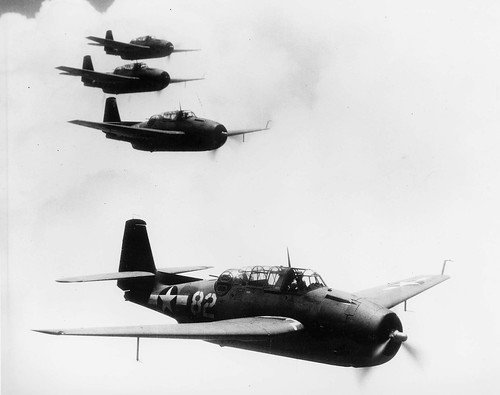 USN TBF-1 Avenger from Squadron VT-6 during a training flight near the island of Maui Hawaii 1943