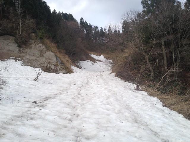 国見林道 残雪