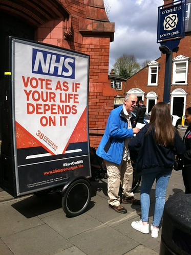 Collecting 'Save our NHS' petition support in Muswell Hill