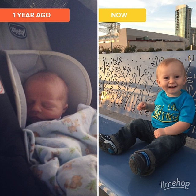 A year ago we were heading home from the hospital, this year we headed home from a birthday trip to San Diego. What an amazing year we've had!! I still can't believe my sweet boy is 1... #timehop by bartlewife