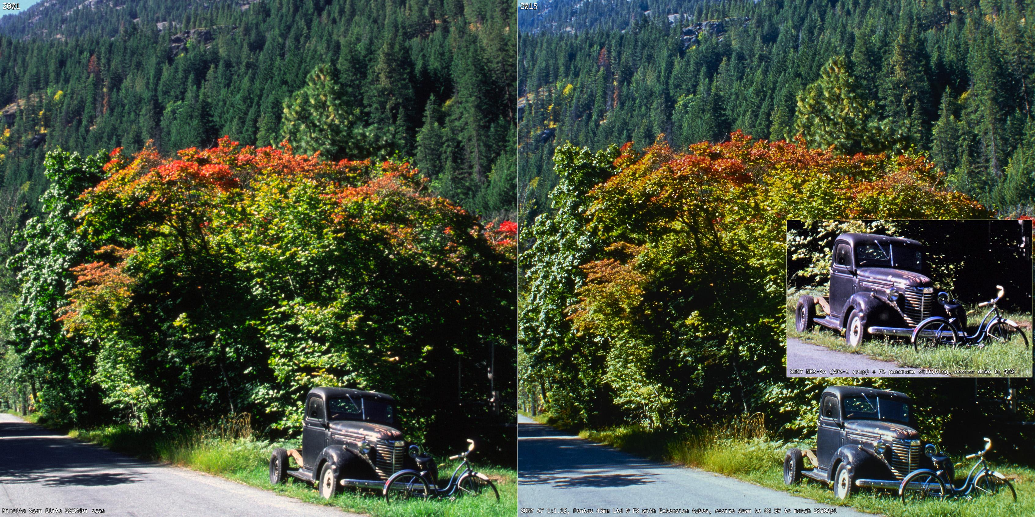 數位相機翻拍底片與底掃 2820dpi 之間的差異性
