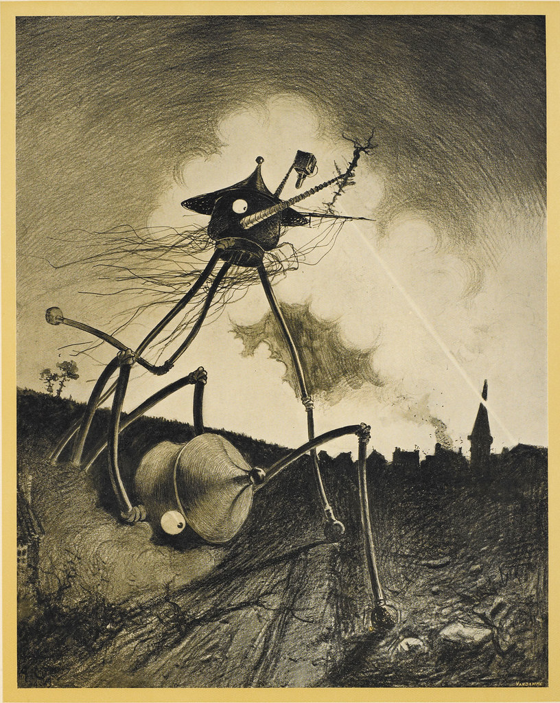 "HENRIQUE ALVIM CORRÊA - Martians on the Move, from The War of the Worlds, Belgium edition, 1906 (illustration from Book I- The Coming of the Martians, Chapter XII- ""What I Saw of the Destruction of Weybridge and Shepperton,"") print version"