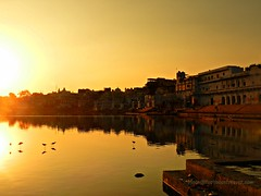 dusk at the holy lake of #Pushkar