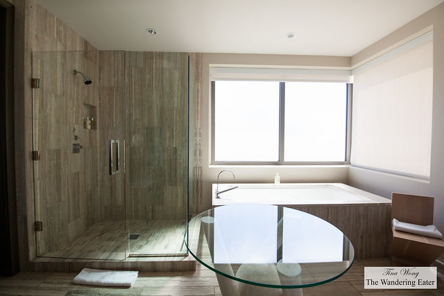 Spacious bathroom with a fantastic shower and bathtub at my Ocean View Viceroy Studio
