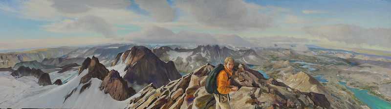 Oil on Linen | 20 x 72 inches | Available | This view from Fremont Peak in the Wind River Range shows some of the extensive glaciers in the area.  These are visible on the left side of the painting. On the right side, looking down into Titcomb Basin, you can see where they have done their work.