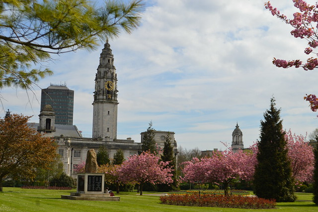 Cathays Park Cardiff City Hall trees