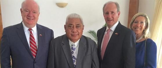 U.S. Ambassador Gilbert presented his credentials to Chief Justice, His Honor Patū Tiava'asu'e Sapolu.