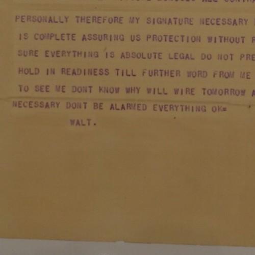オズワルドを奪われた後、ロイに送った電報。伝記でしか知らなかったやつだ…