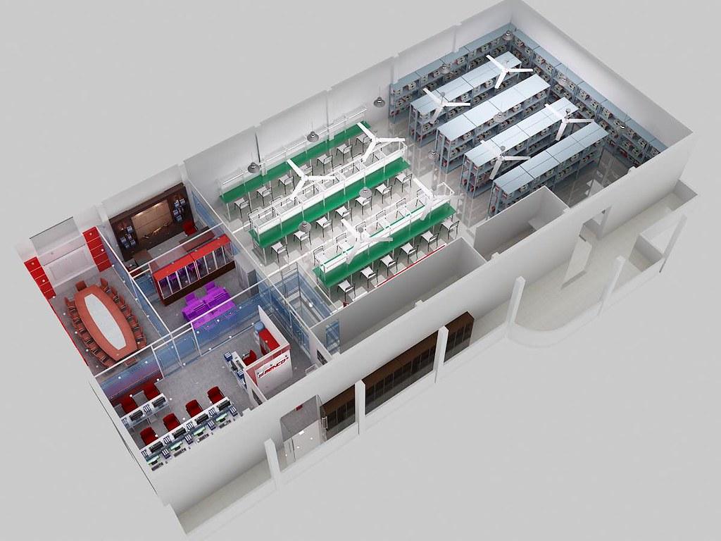 Phối cảnh 3d mặt bằng thiết kế nội thất văn phòng và xưởng của công ty ben co