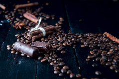 coffee beans and chocolate candies