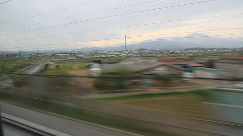 "Bullet train (Shinkansen (新幹線, ""new trunk line"") - travelling between Tokyo and Osaka at approx. 240 km/kr - 19 April 2015"
