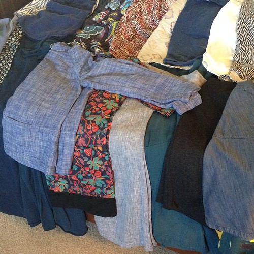 Quick pic of #memade clothes since #mmmay15 starts tomorrow, could've sworn there was another week in April!  Good news? I have enough for every day. Bad news? Nearly a third is suited to cooler weather.  And I have a most decided leaning towards blue ton