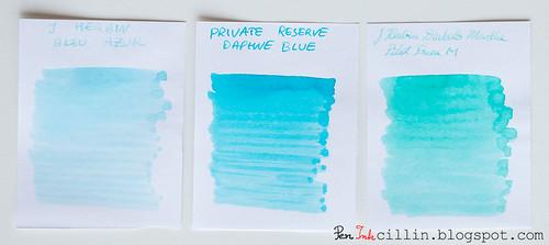J Herbin Bleu Azur vs Private Reserve Daphne Blue vs J Herbin Diabolo Menthe