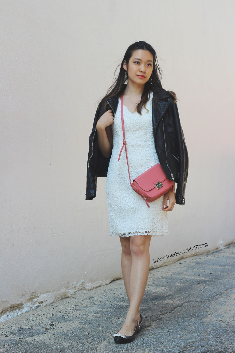 Ann Taylor Scalloped lace dress and Celine box purse dupe