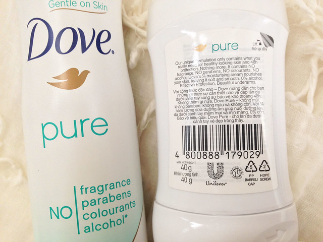 dove, dove pure, dove deodorant, unilever, no parabens, no alcohol, no fragrance, no colourants, deodorant, anti-perspirant, unscented