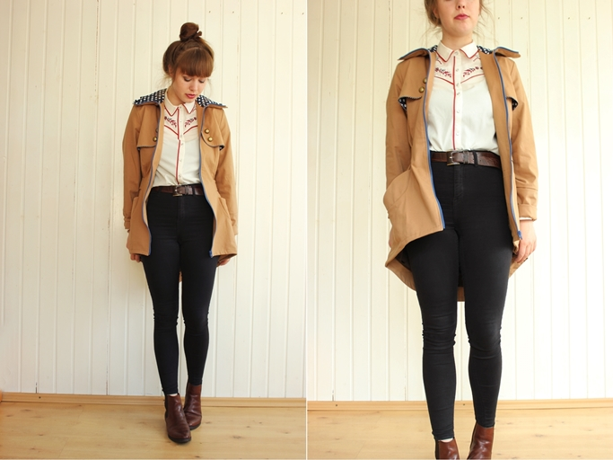 Trenchcoat Polka dots - high waist jeans - my dear love trenchcoat laurelie