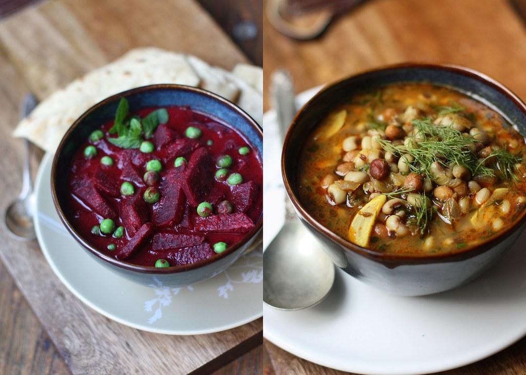 BEET-PEAS CURRY and Black eyed peas-Peanut Curry
