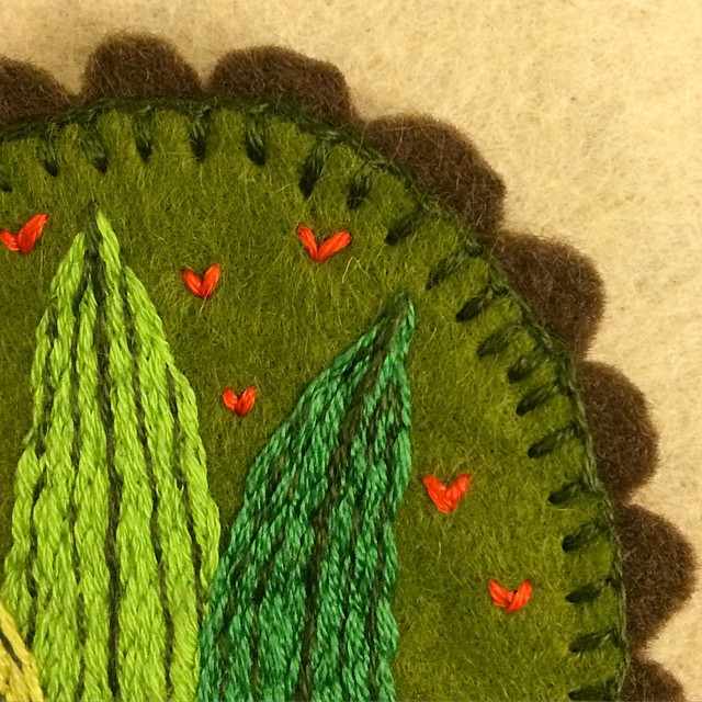 Here's a little peek of a fun grass brooch I've been working on today.