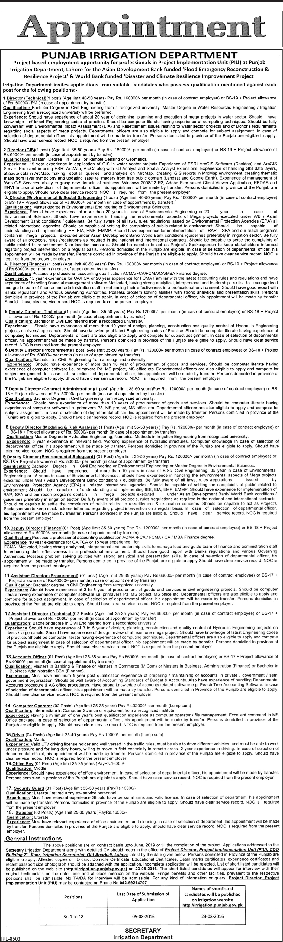 Punjab Irrigation Department Jobs World Bank Finded Project