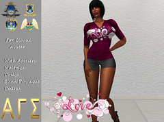 AGS INC. Womens Love Shirt and Shorts with Appliers