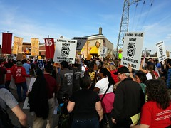 Protest march for a $15/hour minimum wage at the University of Minnesota