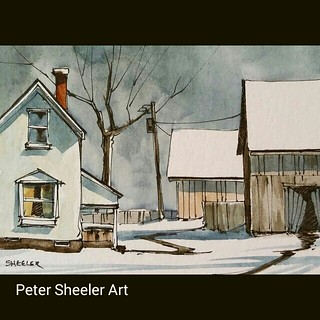 Winter Rural landscape. #art #artist #original #watercolor #watercolour #painting #paintingaday #ink #pen #waterbrush #urbansketchers #winsornewtonmarker #farm #barn #shed #country #countryside #rural #imagesofcanada #usk