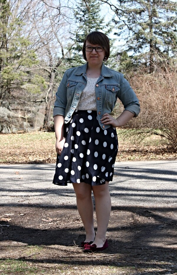 lace tee, denim jacket, polka dot skirt
