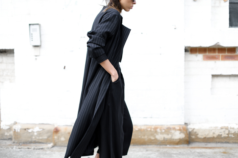 modern legacy, street style, pinstripe, navy, coat, culottes, fashion week, fashion blogger (1 of 1)