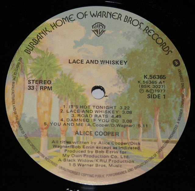 """ALICE COOPER LACE AND WHISKEY 12"""" LP"""
