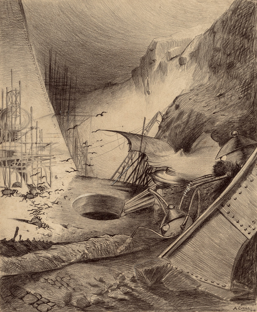 "HENRIQUE ALVIM CORRÊA -Dead Martians, from The War of the Worlds, Belgium edition, 1906 (illustration from Book II - The Earth Under the Martians, Chapter IX - ""Wreckage,"")"