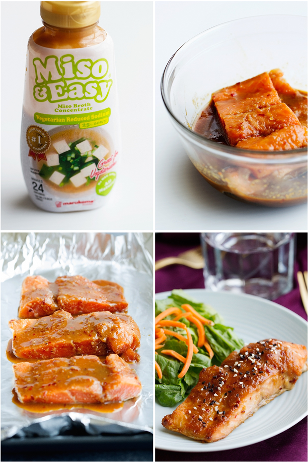 Simple Miso Glazed Salmon with just 7 ingredients! Perfect for weeknights! #salmon #dinner #misoglazedsalmon #miso | Littlespicejar.com