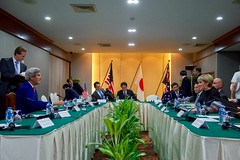 U.S. Secretary of State John Kerry chats with Australian Foreign Minister Julie Bishop at the Lao Plaza Hotel in Vientiane, Laos, on July 25, 2016, before a trilateral meeting with Japan Foreign Minister Fumio Kishida on the sidelines the annual meeting of the Association of Southeast Asian Nations (ASEAN). [State Department Photo/ Public Domain]
