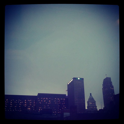 Just before the skies opened up and it started to pour in downtown Cincinnati...