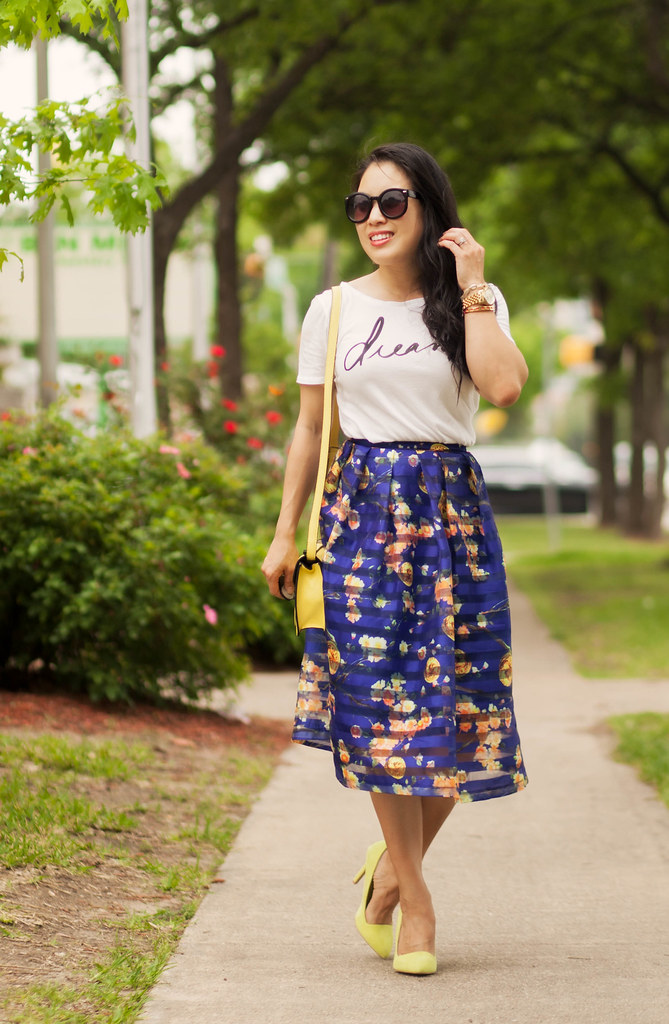 Navy Floral Organza Midi - cute & little
