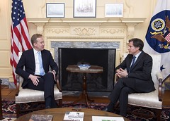 Deputy Secretary of State Tony Blinken meets with Norwegian Foreign Minister Borge Brende at the U.S. Department of State in Washington, D.C., on April 17, 2015. [State Department photo/ Public Domain]