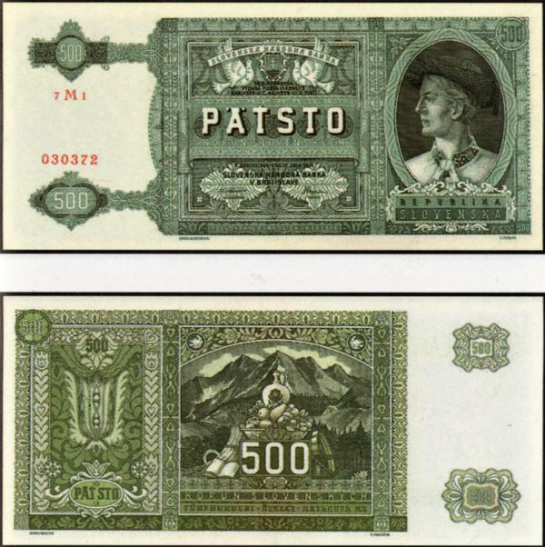 500 Ks II. Päťsto korún Slovensko 1941, neperforovaná!