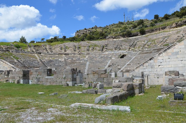 The theatre of ancient Halicarnassus, built in the 4th century BC during the reign of King Mausolos and enlarged in the 2nd century AD, the original capacity of the theatre was 10,000, Bodrum, Turkey