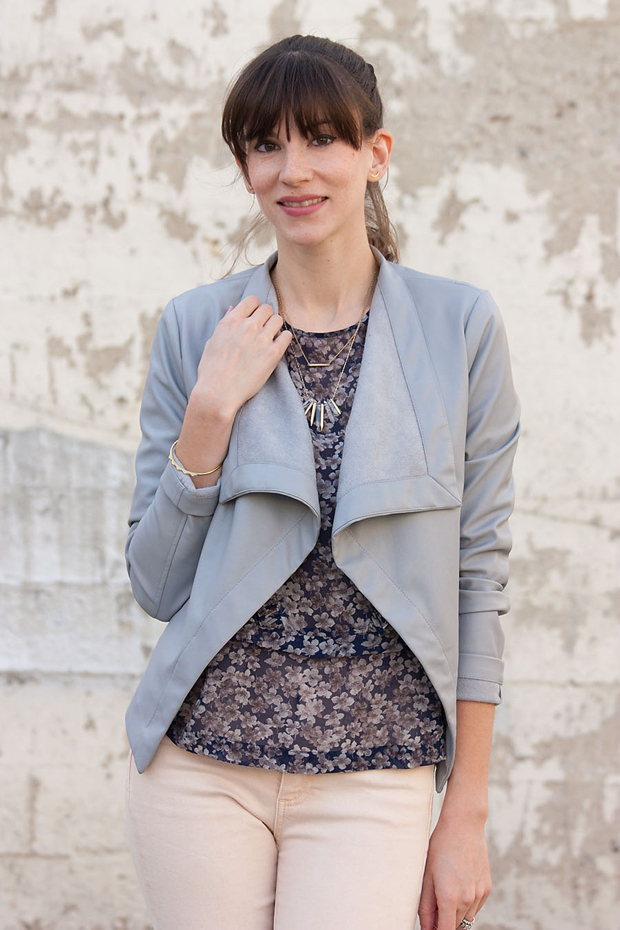 Stella and Dot, Floral Blouse, Grey Jacket