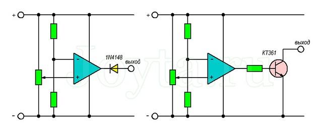 Операционный Усилитель (ОУ) может быть использован в качестве Компаратора напряжения, если к выходу ОУ подключить диод или транзистор