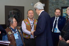 U.S. Secretary of State John Kerry speaks with Permanent Participants to the Arctic Council amid a series of Arctic Council meetings in Iqaluit, Canada, just below the Arctic Circle, on April 24, 2015. [State Department Photo/Public Domain]