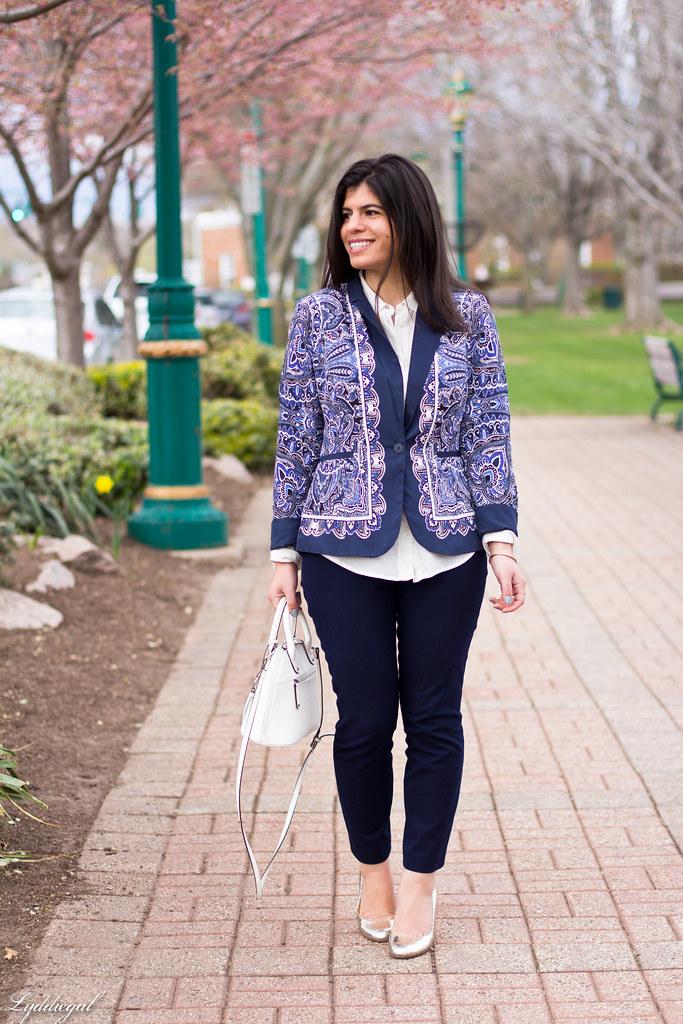 paisley blazer, navy pants, silver pumps-3.jpg